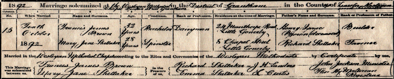 Certificate of Marriage 10th October 1892 - Francis James Brown & Mary Jane Shellaker (Polly)