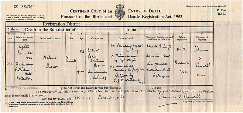 Nellie Brown (Shellaker) Death Cert-1962