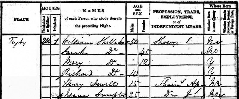 1841 Census William Shellaker