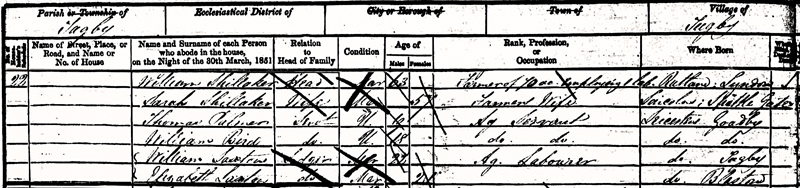 1851 Census - William & Sarah Shellaker
