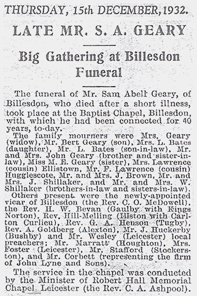 Sam Geary Funeral Newspaper