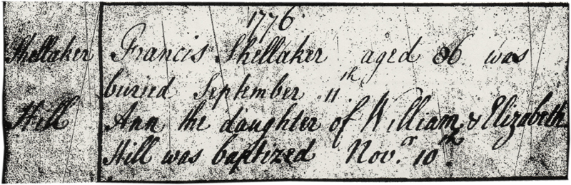 1776 Sept 11 Burial Francis Shellaker